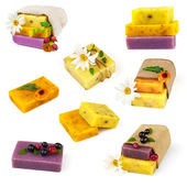 Set of soap with flowers — Stock Photo