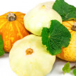 Pumpkins and marrow with leaves — Stock Photo #59121679