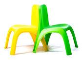Grüne und gelbe Stühle — Stockfoto