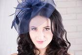 Girl in blue hat — Stock Photo