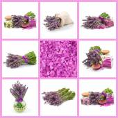 Beautiful lavender, aroma salt and oil — Stock Photo