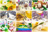 Aroma oil, sea salt, flowers, lavender, candle, mat — Stock Photo