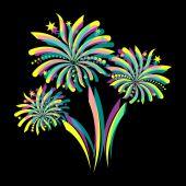 Coloridos fuegos artificiales — Vector de stock