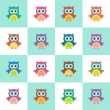 Seamless christmas pattern with owls — Stock Vector #60261273