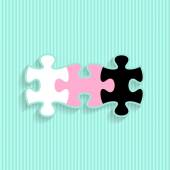 Wedding invitation with puzzle pieces — Stock Vector