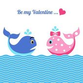Valentine card with whales — Stock Vector