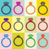 Wedding ring icons  — Stock Vector