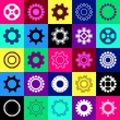 Gear wheel icons in squares — Vector de stock  #69344491