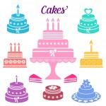Birthday and wedding cakes — Stock Vector #70180227