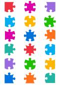 All possible shapes of jigsaw puzzle — Stock Vector
