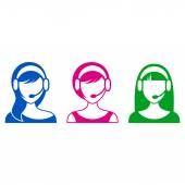 Support or call center woman icons — Stock Vector