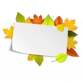 Autumn card with colored leaves in background — Stockvektor