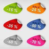 Colorful stickers discsount sale template — 图库矢量图片