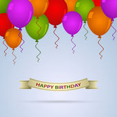 Happy birthday card with ballons and ribbon — Vetor de Stock