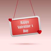 Desejos de dia dos namorados em vermelho a tag — Vetor de Stock