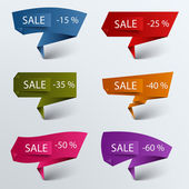 Paper colored folded pointer sale discount template — Stok Vektör