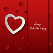 Valentines card with red hearts on background — Stock Vector