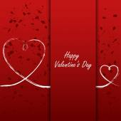 Valentines card with white hearts on abstract background — Vector de stock