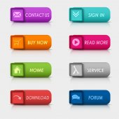 Colored set rectangular square web buttons element — Wektor stockowy