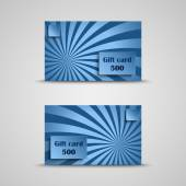 Gift card with blue striped background — Stok Vektör
