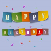 Happy Birthday card with colored stickers template — Stock Vector