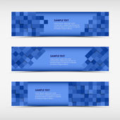 Abstract horizontal banners with blue squares — Stock Vector