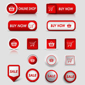 Collection web red buttons and pointers for shopping — Cтоковый вектор