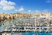 View of town Valletta and harbor — Stock Photo