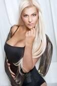 Blonde in stylish black lingerie — Stock Photo