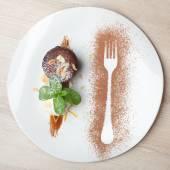 Warm chocolate cake Fondant with ice-cream ball, almond, mint, c — Stock Photo