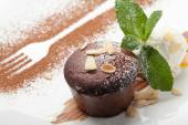 Warm chocolate cake Fondant with ice-cream ball, almond, mint, c — Stok fotoğraf