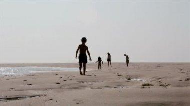 Mladá rodina siluety, chůze v ria formosa mokřadů, přirozené konzervace regionu krajina jižní Portugalsko, algarve. — Stock video
