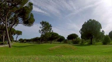 Golf tee shot, in Algarve famous course destination, Portugal. (Timelapse) — Stock Video