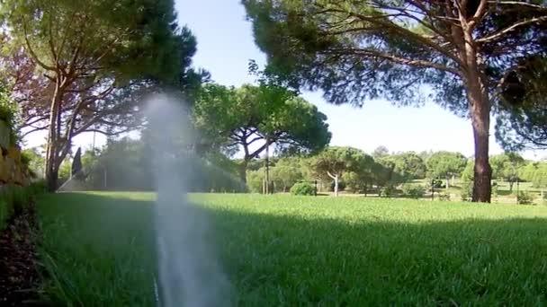 Jardín de riego por aspersión riego de césped (punto de vista material) — Vídeo de stock