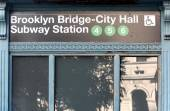 New York City Subway Station Entry sign — Stock Photo