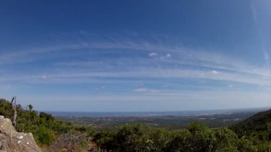 Portugal, Algarve famous destination region rural hillside landscape pan timelapse — Stock Video
