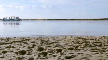 Ria Formosa conservation park view at Fuseta fishing town, Algarve. Portugal — Stock Video