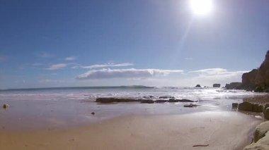 Algarve - Western Atlantic coast St. Eulalia Beach seascape timelapse — Vídeo de Stock
