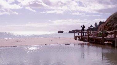 Algarve - Western Atlantic coast St. Eulalia Beach Walkway — Stockvideo
