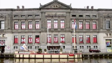 DWDD pop-up museum exterior, or Allard Pierson Museum. Is the archaeology museum of the University of Amsterdam. The ancient civilizations are revived in this museum. — Stock Video