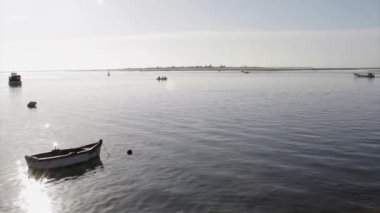 Landscape view from Olhão fishing port to Armona, one of the islands of Ria Formosa wetlands natural conservation region, Algarve, southern Portugal. — Vidéo
