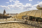 SEVILLE, SPAIN - MAY 2014: Panoramic view in the top of Metropol Parasol in Plaza de la Encarnacion on 31 of May 2014 in Sevilla,Spain. — Stock Photo