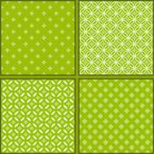 Set of Four green floral seamless patterns — 图库矢量图片