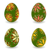 Decorated easter eggs - orange, yellow and green colors — Vetor de Stock