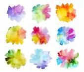 Set of watercolor brush strokes — Stock Photo