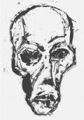 Skull. Monotype style — Stockvektor