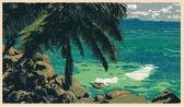 Tropical coast with palm — Wektor stockowy