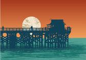 Oceanic view with pier — Stockvektor