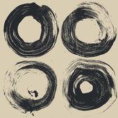 Circle halftone grunge textures set — Stock Vector