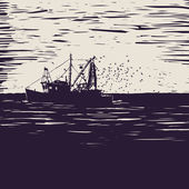 Fishing schooner — Stock Vector